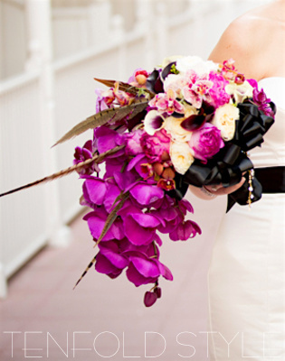 Orchid bouquet with feathers