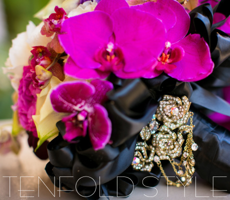 Orchid and ribbon bouquet