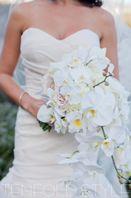 White Orchid Trailing Bouquet Tenfold Style