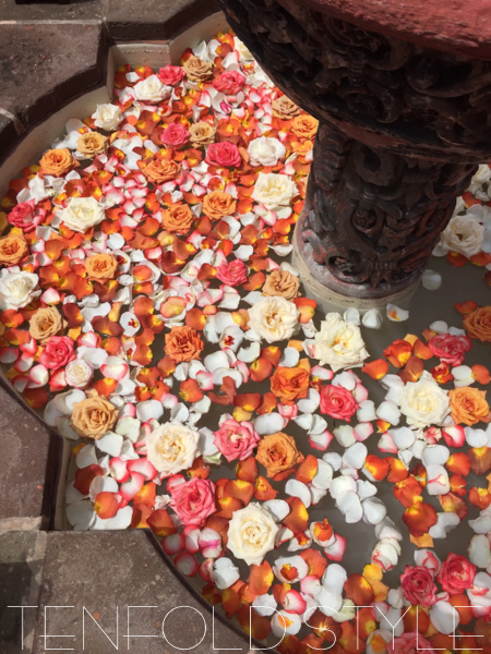 Moroccan Wedding petals in fountain Tenfold Style