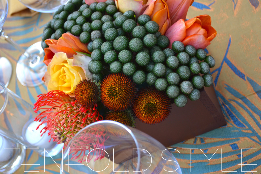 Succulent Centerpiece pincushion rose Tenfold Style
