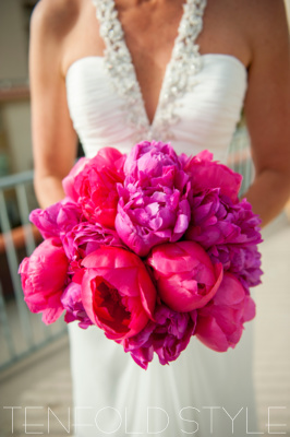 hot pink peony bridal bouquet