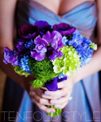 purple and green bridesmaid bouquet
